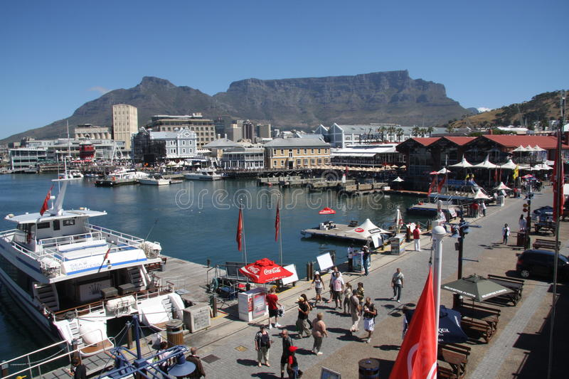 Cape Town Waterfront. Table Mountain forms the background to this shot of the Cape Town Waterfront in South Africa stock photography