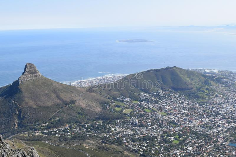 Table mountain national park Cape Town south Africa. Table mountain national park panoramic view awesome beach Cape Town south Africa stock image