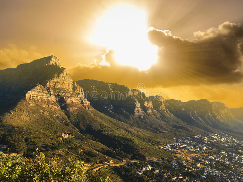 Table Mountain national park view near city and the beach stock photography