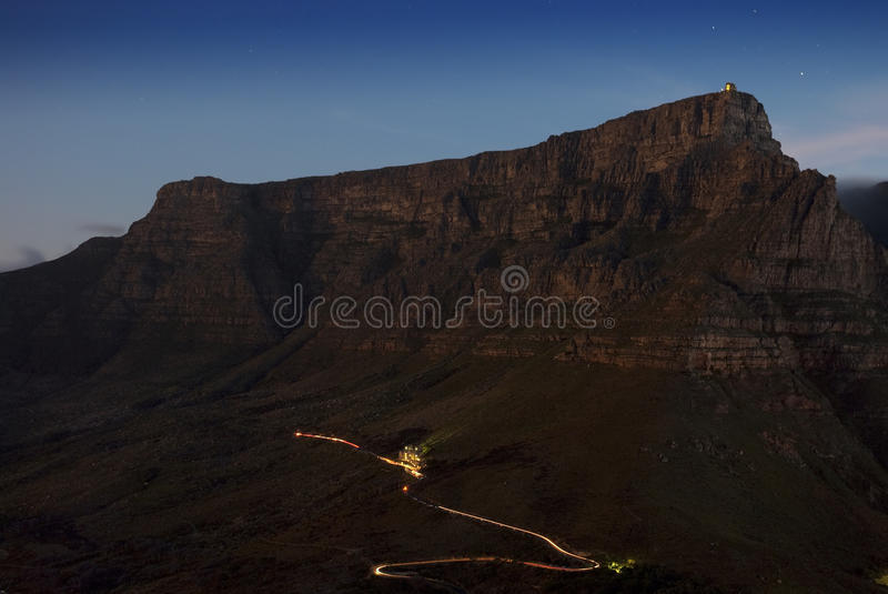 Table Mountain at night royalty free stock image