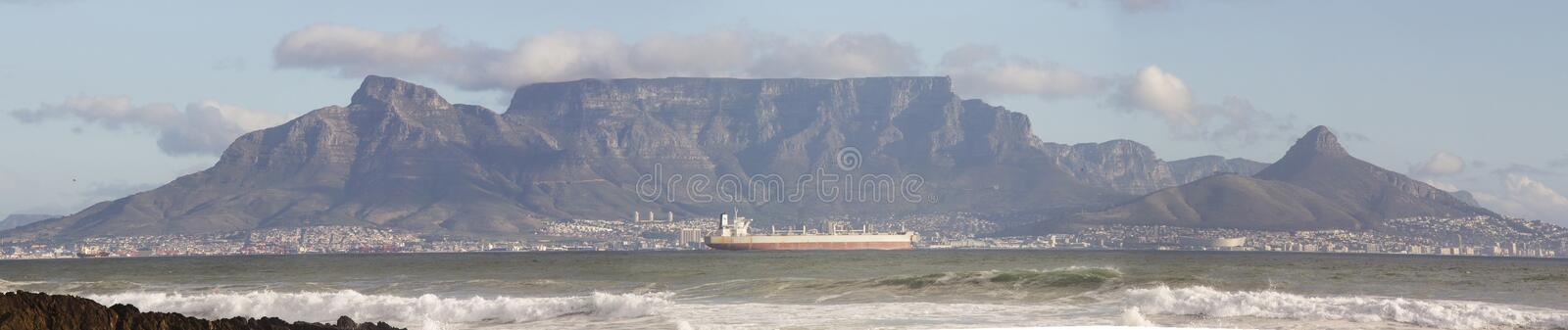 Table Mountain Panorama 2. A Panorama of Table Mountain in Cape Town from Blouberg royalty free stock photography