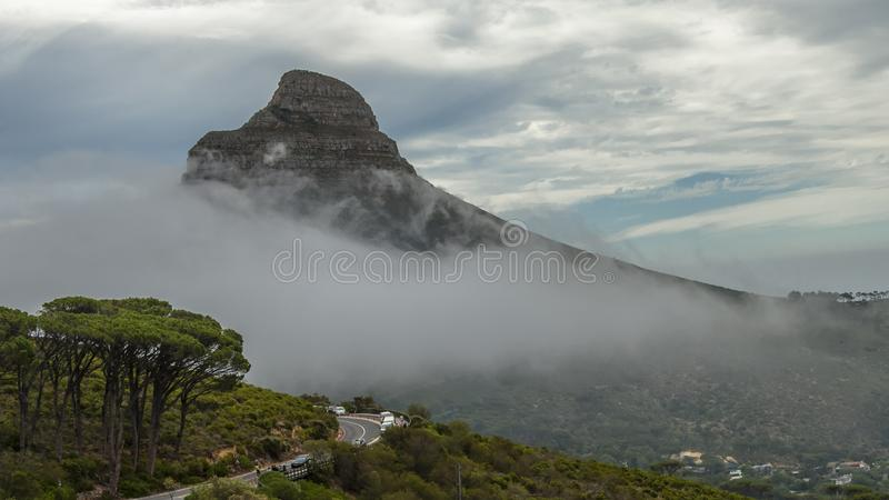 """Table Mountain. English: , Tafelberg means """"City of Cape"""". It is South Africa's Pingdingshan overlooking Cape Town and Table Bay. It stands stock image"""