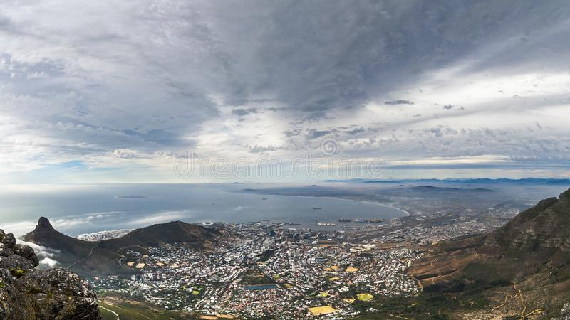 """Table Mountain. English: , Tafelberg means """"City of Cape"""". It is South Africa's Pingdingshan overlooking Cape Town and Table Bay. It stands stock photos"""