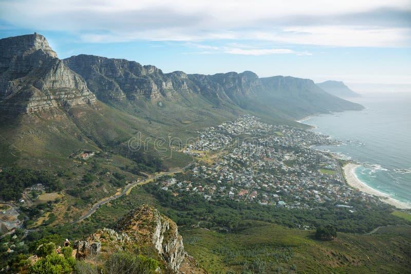 Table Mountain and twelve apostles royalty free stock photo