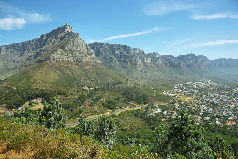 Table Mountain and twelve apostles royalty free stock photos