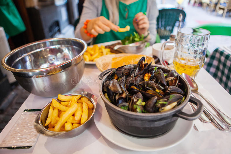 Table with mussels stock photos