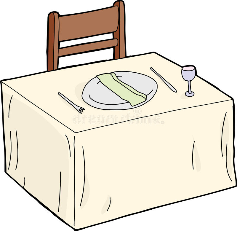 Table with Napkin in Plate vector illustration