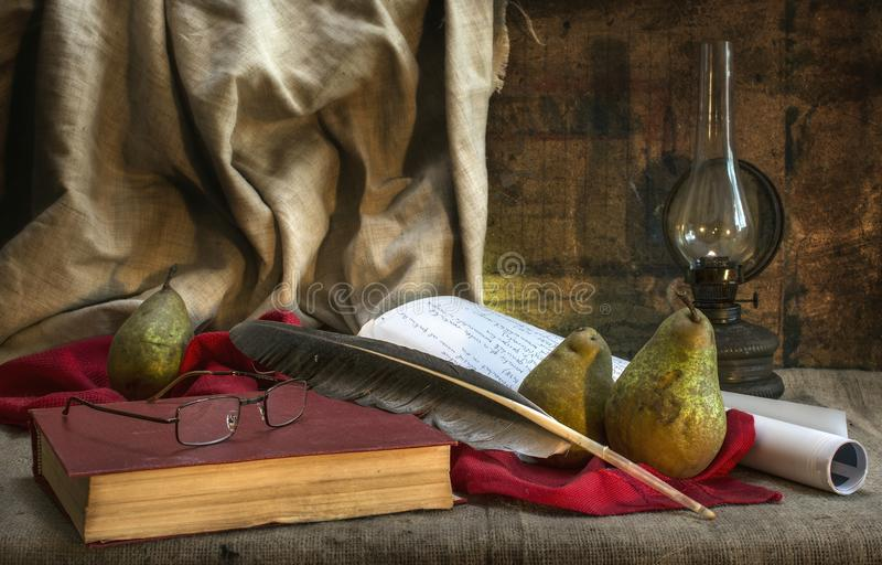 Table of a nature writer stock photography