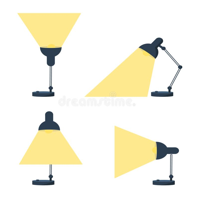 Table office retro desktop lamp lighting. Bright business ideas set. Table office retro desktop lamp lighting. Bright business  ideas set vector vector illustration