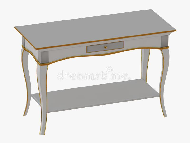 Table with one drawer on white background 3d rendering. Table with one drawer on white background 3d stock illustration