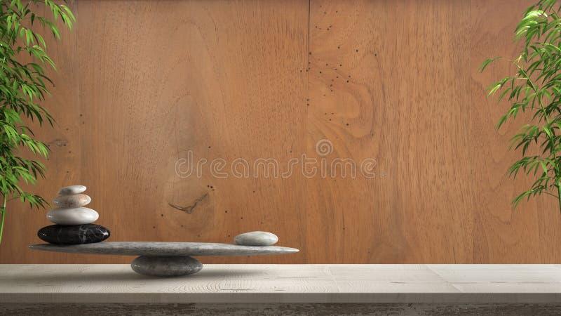 Table ou étagère en bois de cru avec l'équilibre en pierre, au-dessus du vieux mur en bois de cru, shui de feng, desig intérieur  photo stock