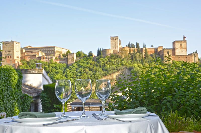 Download Table Overlooking The Alhambra Royalty Free Stock Photos - Image: 26522868
