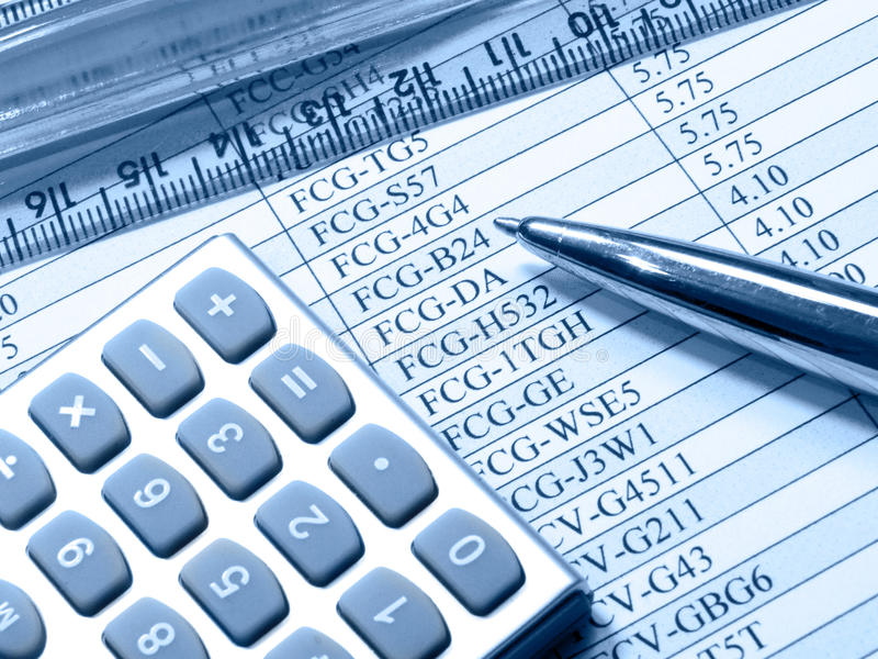 Download Table, Pen, Ruler And Calculator (blue) Stock Image - Image: 10690765