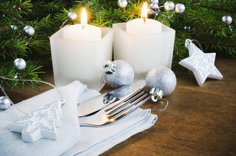 Table Place Setting for Christmas Eve. Winter Holidays. Christmas background. stock image
