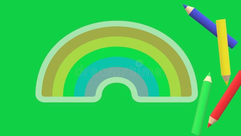 Table plate avec les crayons et le fond vert, arc-en-ciel illustration libre de droits