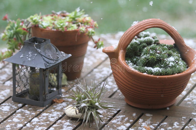 Table pots and decorations covered by snow flakes. Garden pots, terracotta and candlelight cage, starting to get covered by snow flakes during winter royalty free stock photography