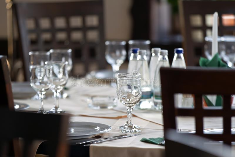 Table ready for event in a restaurant royalty free stock image