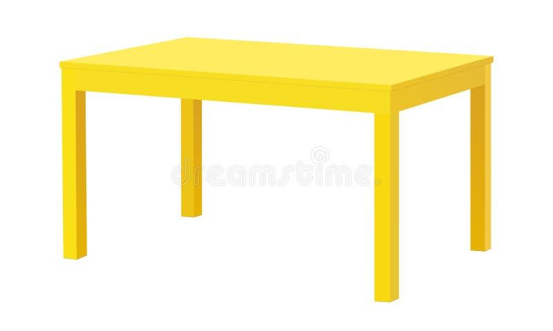 Table rectangulaire jaune d'isolement illustration stock