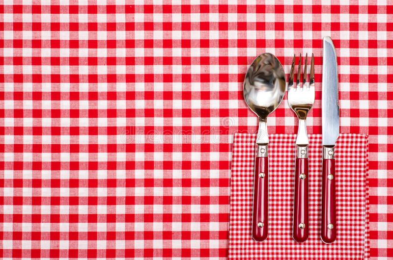 Table In A Restaurant With Cutlery In Red Stock Image