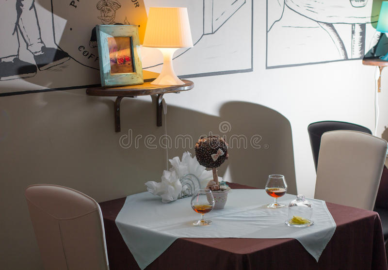 Table in the restaurant. stock photography