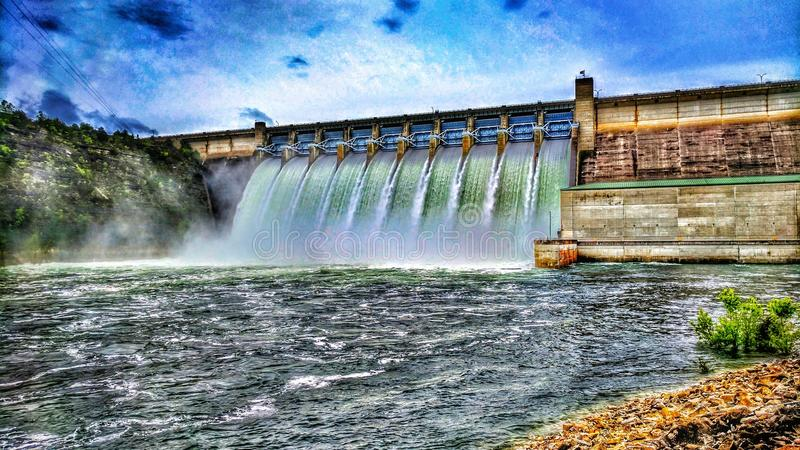 Table Rock Dam at Flood Stage in Hdr. stock images