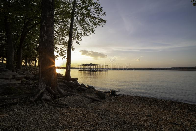 Sunset on the shores of Table Rock Lake stock photo