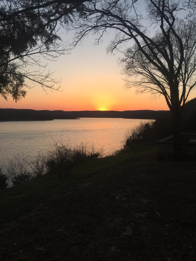 Table Rock Lake sunset royalty free stock images