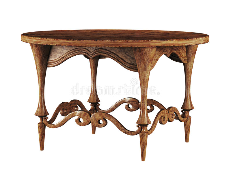 table ronde 3d antique illustration stock