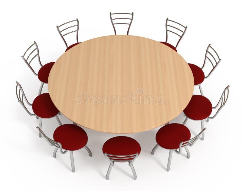 Table ronde avec des présidences, d'isolement sur le blanc illustration libre de droits