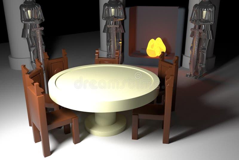 Table ronde avec les armures et le coin du feu illustration stock