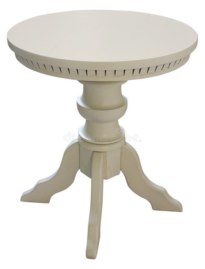 Table ronde en bois d'isolement photographie stock