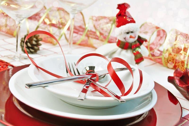 Table rouge de Noël photos stock