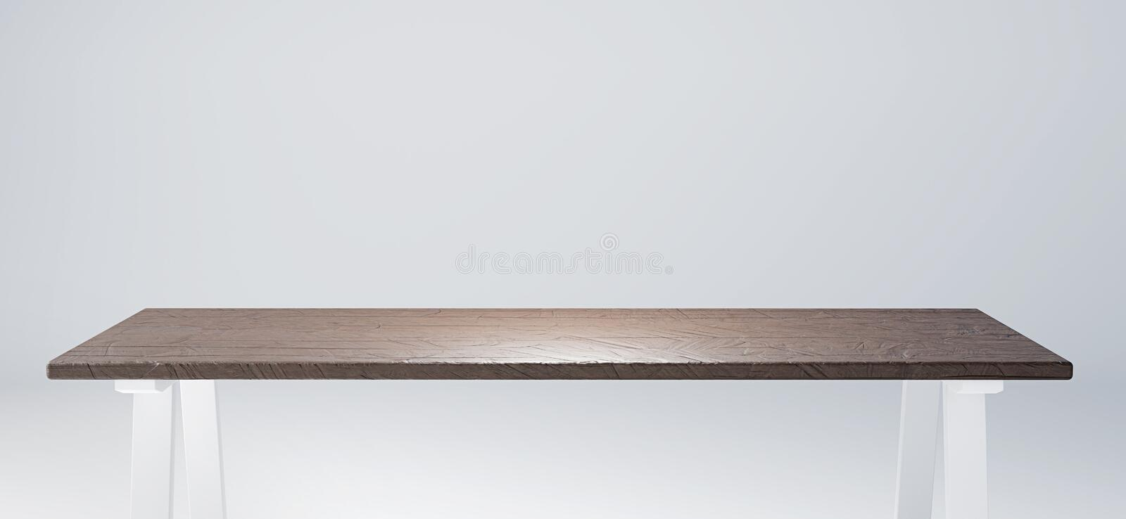 Table with rustic wooden tabletop suitable for product display. 3D render image. Empty table with rustic wooden tabletop suitable for product display. 3D render vector illustration
