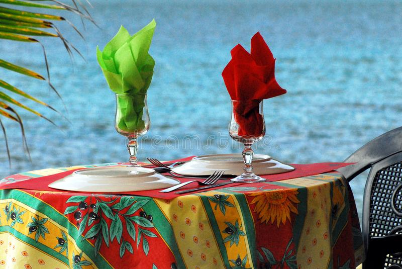 Guadeloupe- A French Styled Table By The Sea stock images