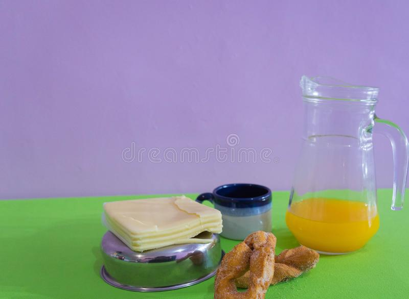 Table served for afternoon breakfast 02 stock images