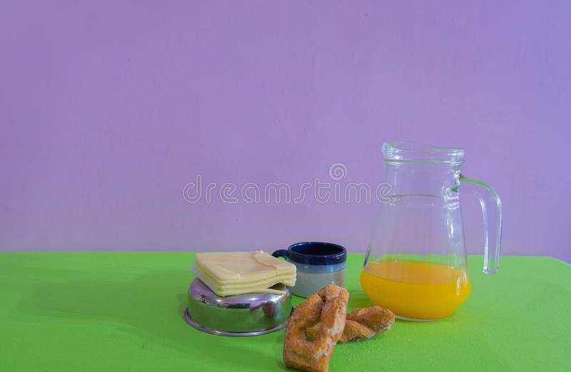 Table served for afternoon breakfast 03 royalty free stock photo