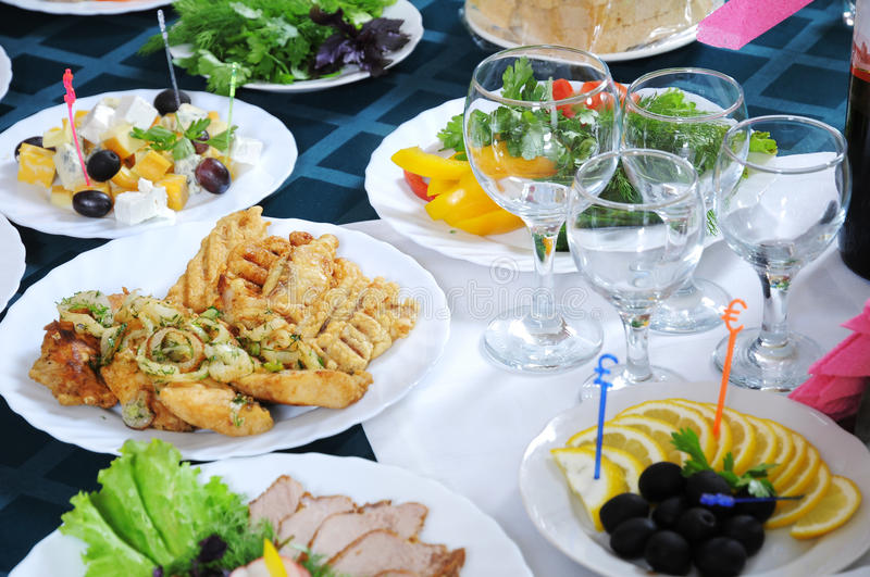 The table is served for a banquet. stock image