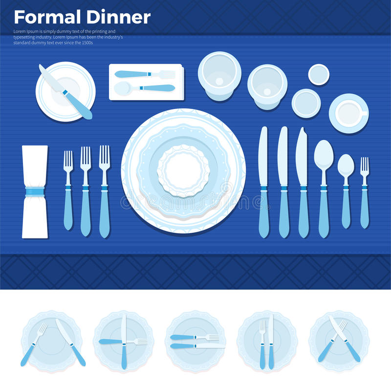Table served for formal dinner vector illustration