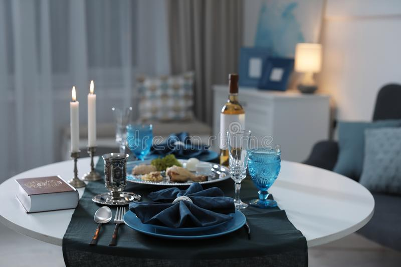 Table served for Passover Pesach Seder. Indoors stock images