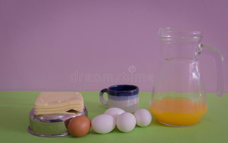 Table served for snack with, cheese and eggs 05 royalty free stock images