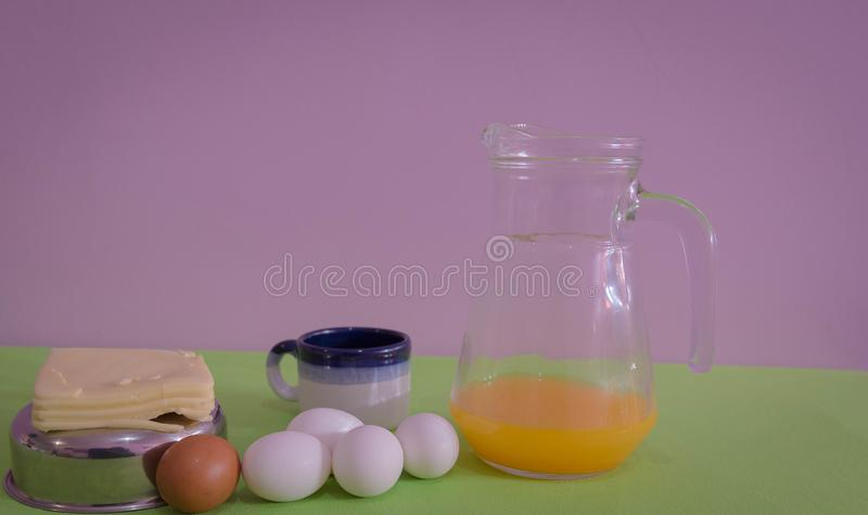 Table served for snack with, cheese and eggs 07 stock images