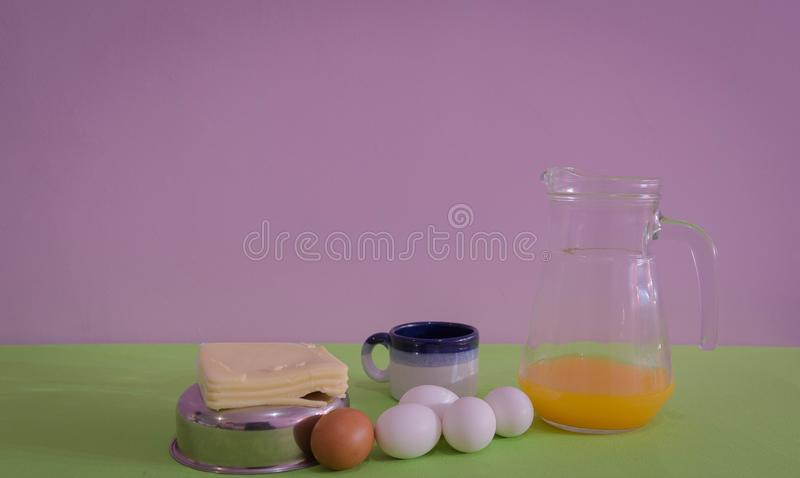 Table served for snack with, cheese and eggs 08 royalty free stock image