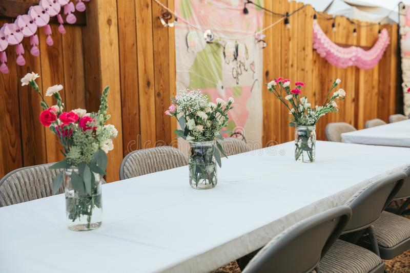 Table set for baby shower. Surprise party stock photo