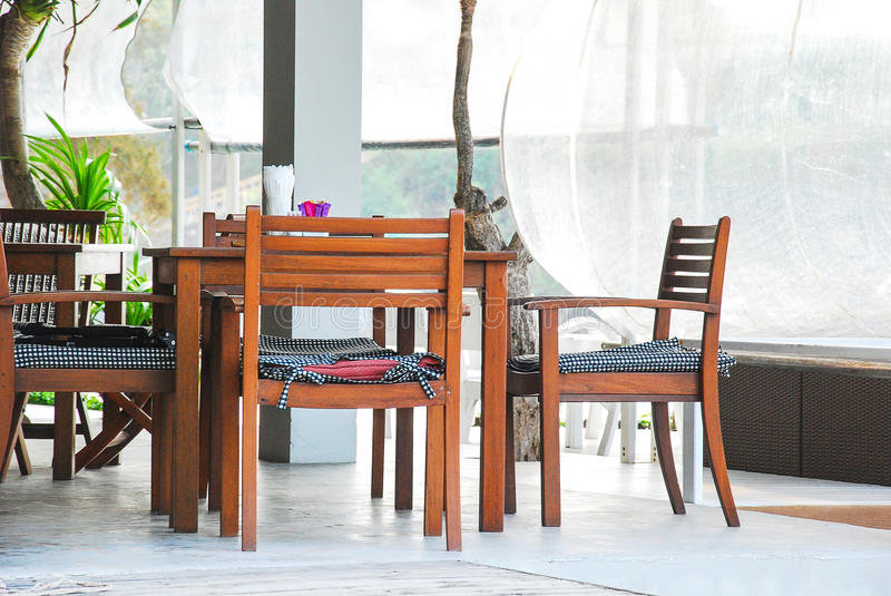 Table set for breakfast at balcony in the morning royalty free stock photography