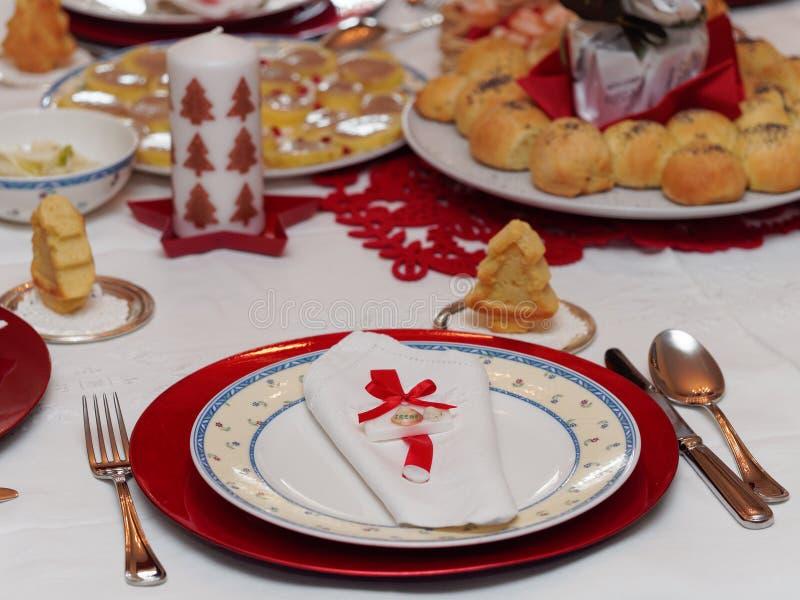 Table set for christmas dinner stock photos