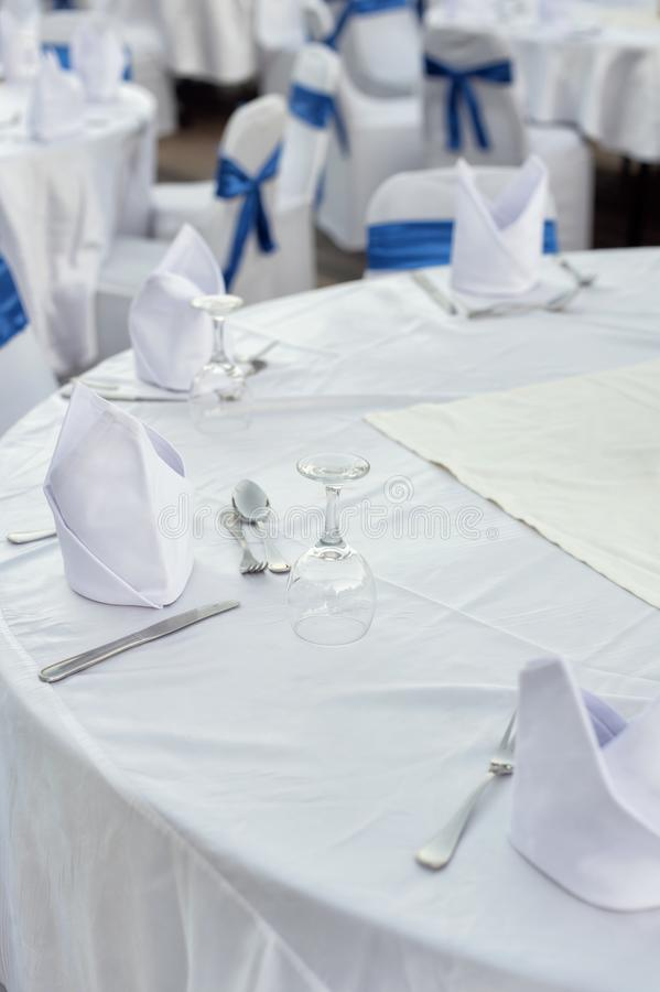 Table set for dinner at the hotel. Table set for dinner at the resort hotel royalty free stock photo