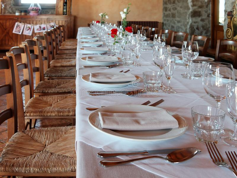 Table set for dinner or lunch. Table set for a dinner or lunch stock photos