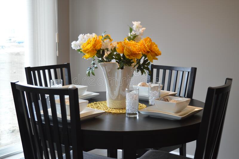 Table set for four stock image