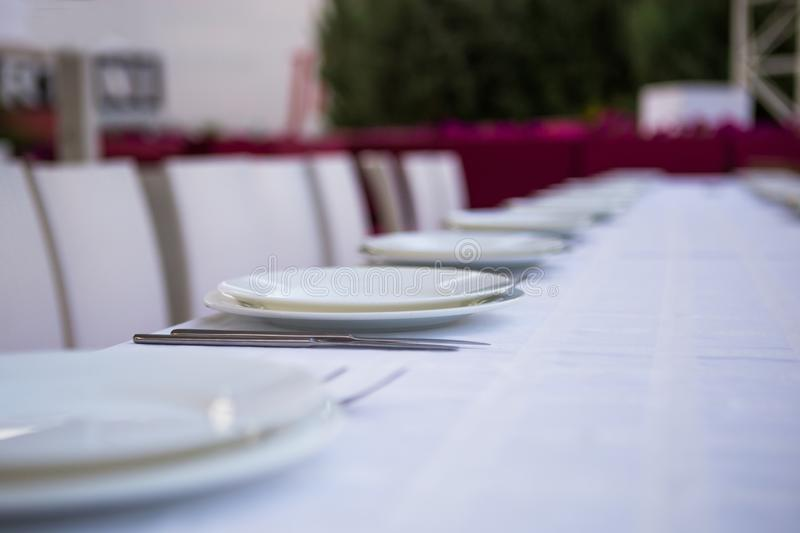 Table set at restaurant open air stock images