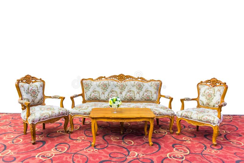 Table set sofa and chair on red carpet with a white background isolated. Table set sofa and chair on red carpet with a white background isolated stock images
